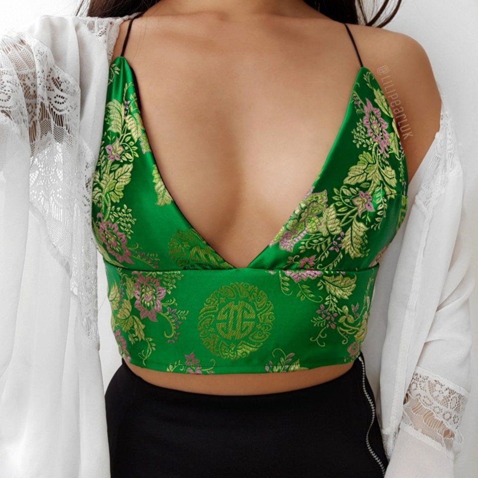 Bright Green dragon LILIPEARL handmade triangle bralet  - LiLiPearl - LiLiPearlUK - Handmade luxury dragon satin chinese unique womens clothing lace mesh prom dress festival crop top sequin bodychain dolls kill depop shopify silkfred chelsea pearl li bralet lili pearl