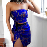 Royal Blue chinese dragon satin LILIPEARL lace bandeau crop top  - LiLiPearl - LiLiPearlUK - Handmade luxury dragon satin chinese unique womens clothing lace mesh prom dress festival crop top sequin bodychain dolls kill depop shopify silkfred chelsea pearl li bralet lili pearl