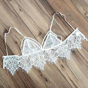Mimi LILIPEARL Lace Cut out mesh bra - WHITE - LiLiPearl - LiLiPearlUK - Handmade luxury dragon satin chinese unique womens clothing lace mesh prom dress festival crop top sequin bodychain bralet lili pearl