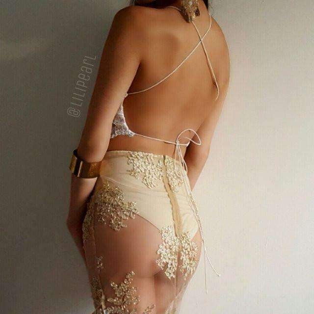 Gold dragon LILIPEARL handmade triangle bralet  - LiLiPearl - LiLiPearlUK - Handmade luxury dragon satin chinese unique womens clothing lace mesh prom dress festival crop top sequin bodychain dolls kill depop shopify silkfred chelsea pearl li bralet lili pearl