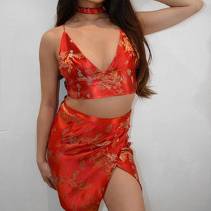 Dragon LILIPEARL 2 piece triangle bra wrap bundle set (6 COLOURS) - LiLiPearl - LiLiPearlUK - Handmade luxury dragon satin chinese unique womens clothing lace mesh prom dress festival crop top sequin bodychain bralet lili pearl