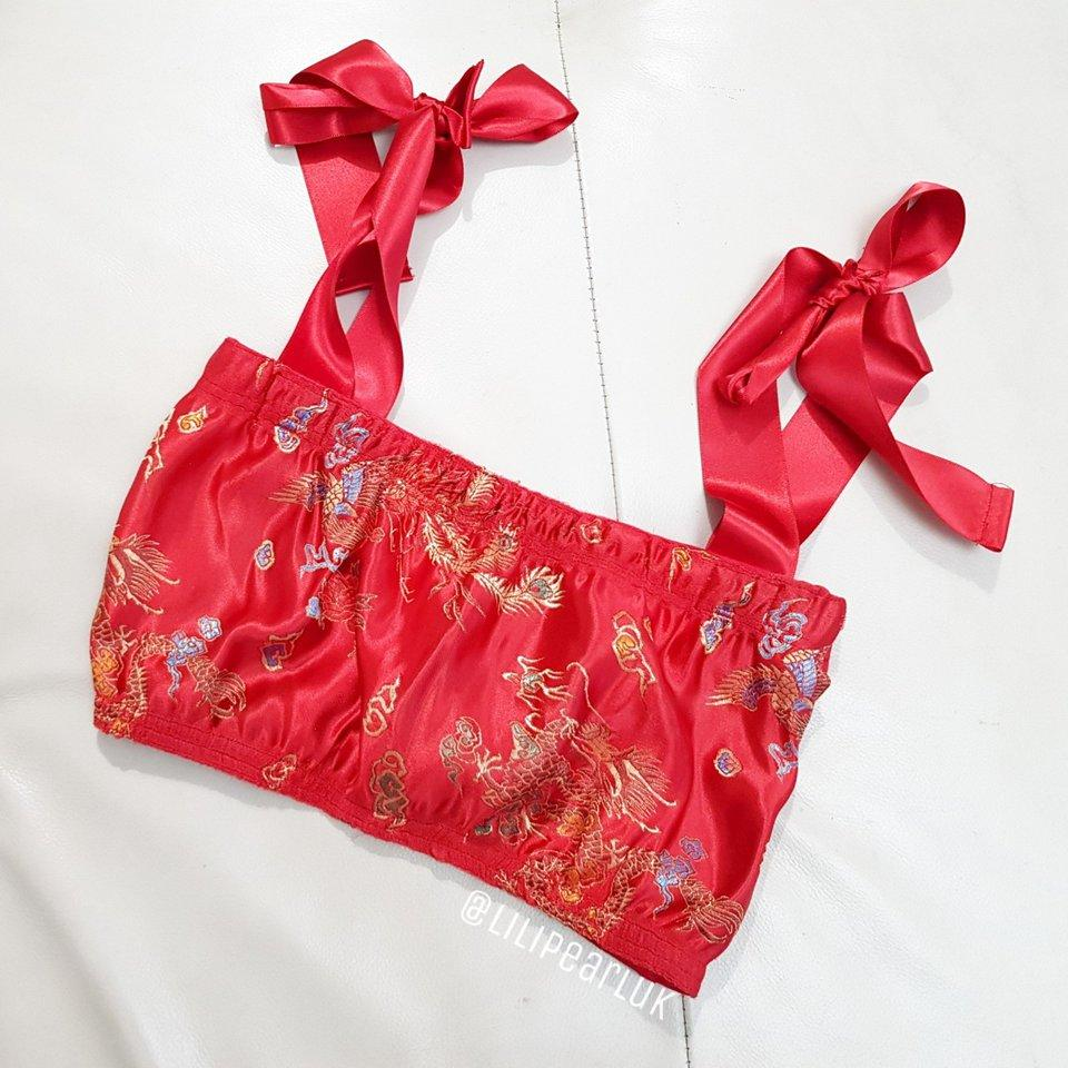 Red chinese dragon satin bow LILIPEARL lace bandeau crop top - LiLiPearl - LiLiPearlUK - Handmade luxury dragon satin chinese unique womens clothing lace mesh prom dress festival crop top sequin bodychain bralet lili pearl
