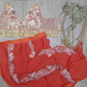 Jasmine orange LiLiPearl halloween costume triangle bra 3 piece co ord set  - LiLiPearl - LiLiPearlUK - Handmade luxury dragon satin chinese unique womens clothing lace mesh prom dress festival crop top sequin bodychain dolls kill depop shopify silkfred chelsea pearl li bralet lili pearl