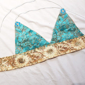 Mia Blue LILIPEARL handmade triangle lace bralet  - LiLiPearl - LiLiPearlUK - Handmade luxury dragon satin chinese unique womens clothing lace mesh prom dress festival crop top sequin bodychain dolls kill depop shopify silkfred chelsea pearl li bralet lili pearl