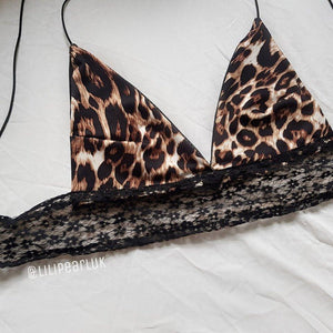 Leopard Print Lace LILIPEARL handmade triangle bralet  - LiLiPearl - LiLiPearlUK - Handmade luxury dragon satin chinese unique womens clothing lace mesh prom dress festival crop top sequin bodychain dolls kill depop shopify silkfred chelsea pearl li bralet lili pearl