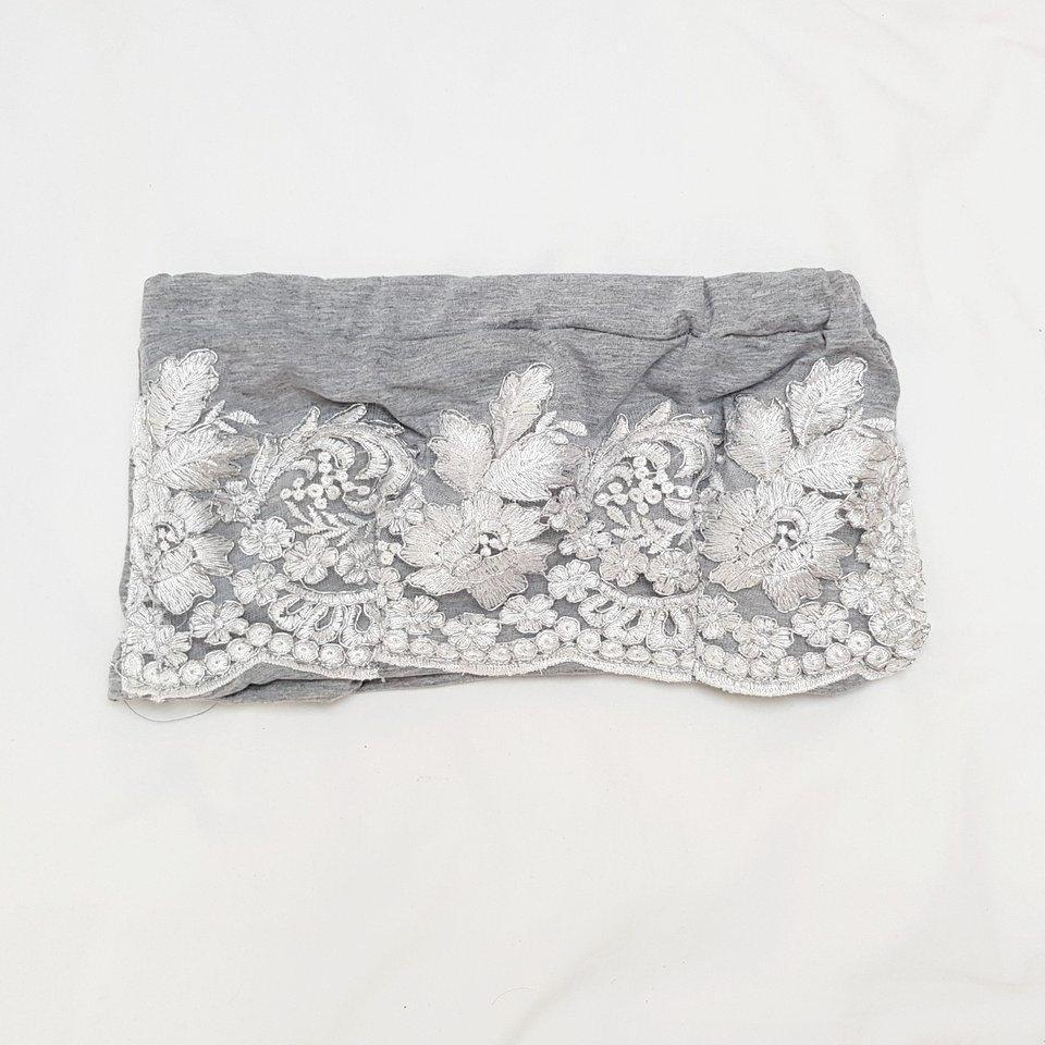 Grey LILIPEARL lace bandeau crop top - LiLiPearl - LiLiPearlUK - Handmade luxury dragon satin chinese unique womens clothing lace mesh crop top bralet lili pearl