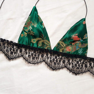 Green Lace Dragon LILIPEARL handmade triangle bralet - LiLiPearl - LiLiPearlUK - Handmade luxury dragon satin chinese unique womens clothing lace mesh crop top bralet lili pearl