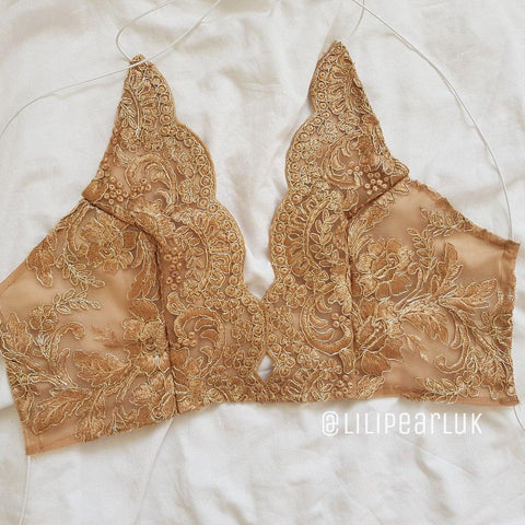 Mina Bronze gold LILIPEARL handmade lace bralet - LiLiPearl - LiLiPearlUK - Handmade luxury dragon satin chinese unique womens clothing lace mesh crop top bralet lili pearl