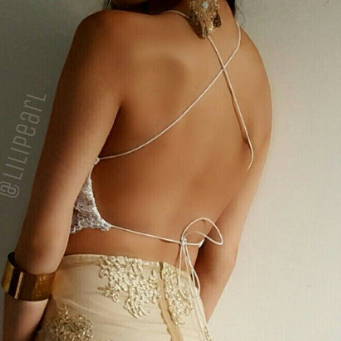 Lux Gold LILIPEARL handmade triangle satin lace bralet