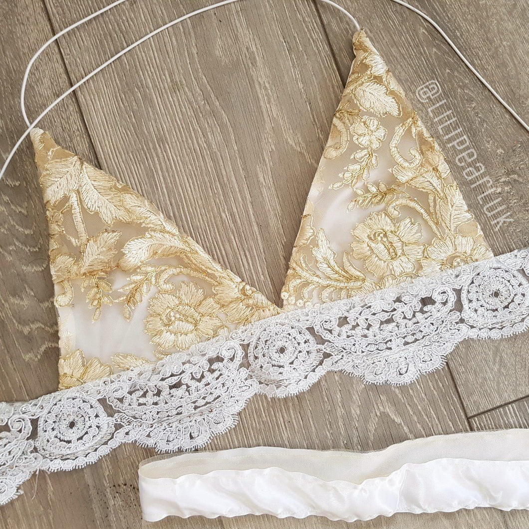 Lux Gold LILIPEARL handmade triangle satin lace bralet  - LiLiPearl - LiLiPearlUK - Handmade luxury dragon satin chinese unique womens clothing lace mesh prom dress festival crop top sequin bodychain dolls kill depop shopify silkfred chelsea pearl li bralet lili pearl
