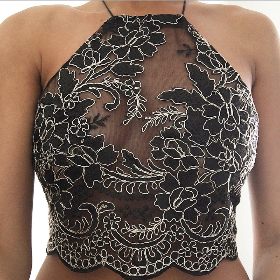 Katy LILIPEARL handmade lace bralet - LiLiPearl - LiLiPearlUK - Handmade luxury dragon satin chinese unique womens clothing lace mesh prom dress festival crop top sequin bodychain bralet lili pearl
