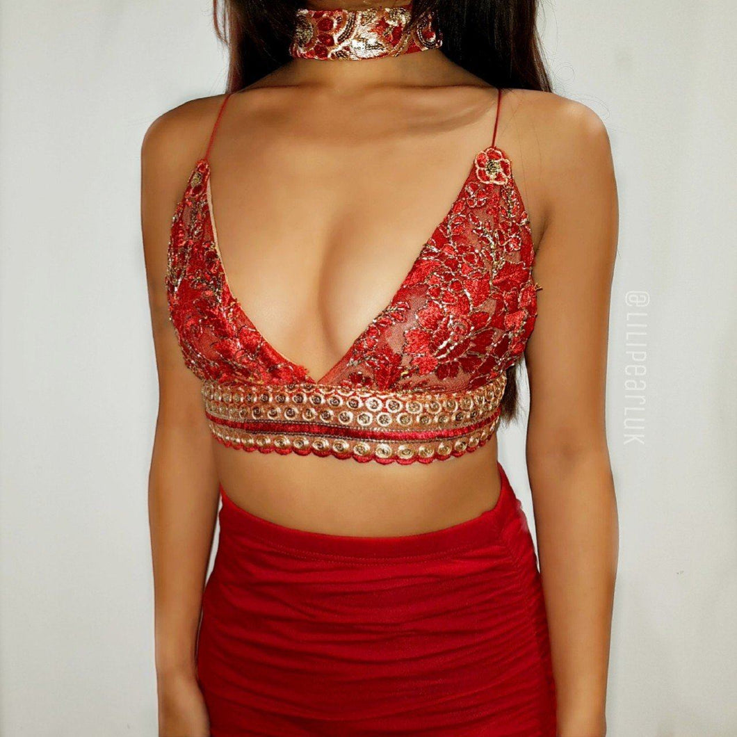 Mia Red LILIPEARL handmade triangle lace bralet  - LiLiPearl - LiLiPearlUK - Handmade luxury dragon satin chinese unique womens clothing lace mesh prom dress festival crop top sequin bodychain dolls kill depop shopify silkfred chelsea pearl li bralet lili pearl