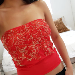 Red LILIPEARL long line lace bandeau crop top