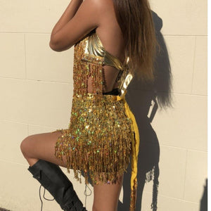 Sequin Gold LILIPEARL tassel 2 piece co ord set - LiLiPearl - LiLiPearlUK - Handmade luxury dragon satin chinese unique womens clothing lace mesh prom dress festival crop top sequin bodychain bralet lili pearl