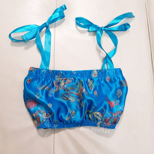 Turquoise chinese dragon satin bow LILIPEARL lace bandeau crop top