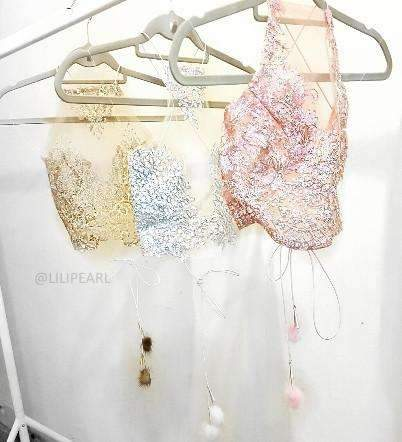 Pom Pom LILIPEARL add ons for tops (1 PAIR) - LiLiPearl - LiLiPearlUK - Handmade luxury dragon satin chinese unique womens clothing lace mesh crop top bralet lili pearl