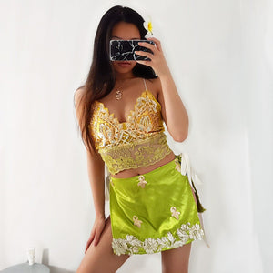 Ana Green Gold LILIPEARL handmade lace triangle bralet  - LiLiPearl - LiLiPearlUK - Handmade luxury dragon satin chinese unique womens clothing lace mesh prom dress festival crop top sequin bodychain dolls kill depop shopify silkfred chelsea pearl li bralet lili pearl