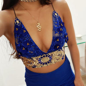 Poppy blue LILIPEARL handmade triangle lace bralet  - LiLiPearl - LiLiPearlUK - Handmade luxury dragon satin chinese unique womens clothing lace mesh prom dress festival crop top sequin bodychain dolls kill depop shopify silkfred chelsea pearl li bralet lili pearl