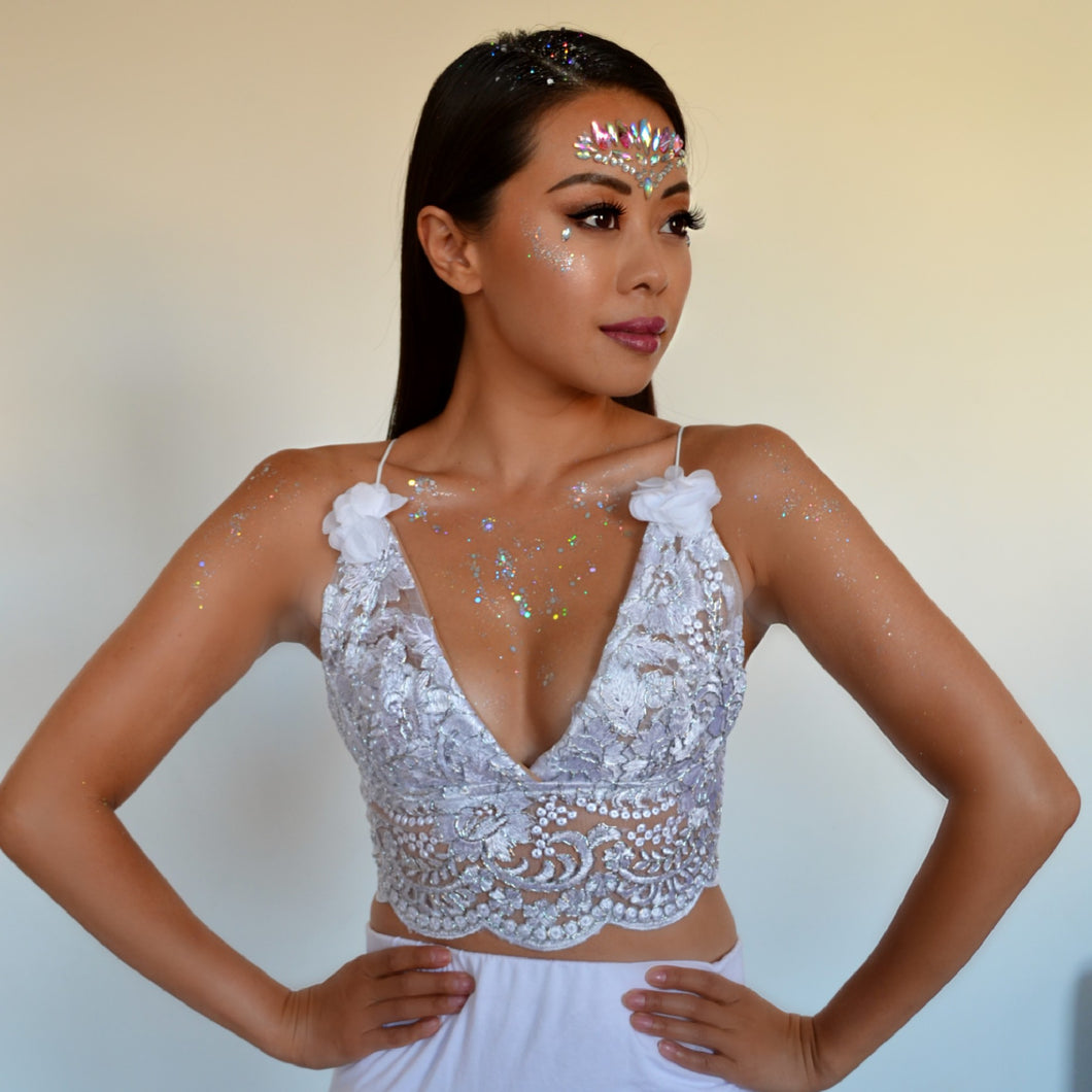 Kaila Silver LILIPEARL handmade floral lace triangle bralet  - LiLiPearl - LiLiPearlUK - Handmade luxury dragon satin chinese unique womens clothing lace mesh prom dress festival crop top sequin bodychain dolls kill depop shopify silkfred chelsea pearl li bralet lili pearl