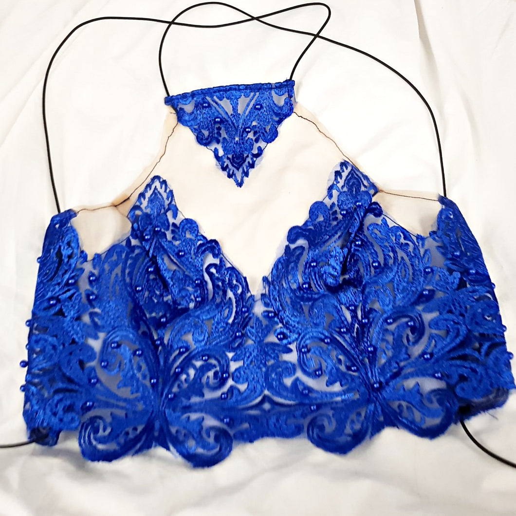 Cobalt LILIPEARL handmade lace halterneck bralet  - LiLiPearl - LiLiPearlUK - Handmade luxury dragon satin chinese unique womens clothing lace mesh prom dress festival crop top sequin bodychain dolls kill depop shopify silkfred chelsea pearl li bralet lili pearl