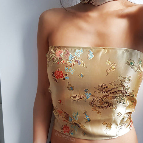 Gold corset chinese dragon satin LILIPEARL lace bandeau crop top