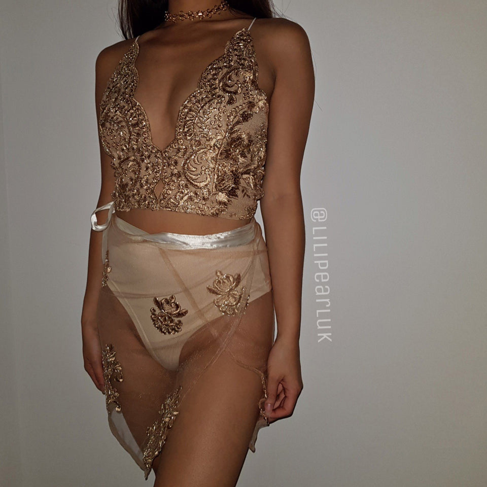 Lux bronze LILIPEARL triangle crop top and skirt co ord 2 piece bundle set  - LiLiPearl - LiLiPearlUK - Handmade luxury dragon satin chinese unique womens clothing lace mesh prom dress festival crop top sequin bodychain dolls kill depop shopify silkfred chelsea pearl li bralet lili pearl