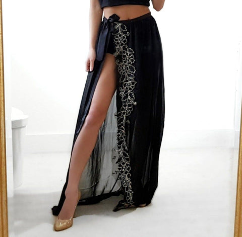 Black Leg split LILIPEARL chiffon wrap skirt