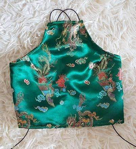 Emerald Dragon LILIPEARL handmade halterneck - LiLiPearl - LiLiPearlUK - Handmade luxury dragon satin chinese unique womens clothing lace mesh crop top bralet lili pearl