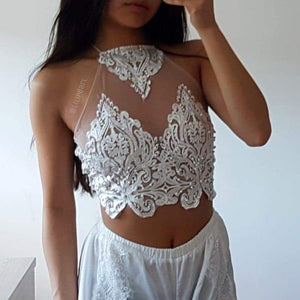 Ice babe LILIPEARL handmade lace halterneck bralet  - LiLiPearl - LiLiPearlUK - Handmade luxury dragon satin chinese unique womens clothing lace mesh prom dress festival crop top sequin bodychain dolls kill depop shopify silkfred chelsea pearl li bralet lili pearl