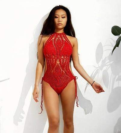 Mindy LILIPEARL crochet lace monokini swimsuit  - Red - LiLiPearl - LiLiPearlUK - Handmade luxury dragon satin chinese unique womens clothing lace mesh crop top bralet lili pearl
