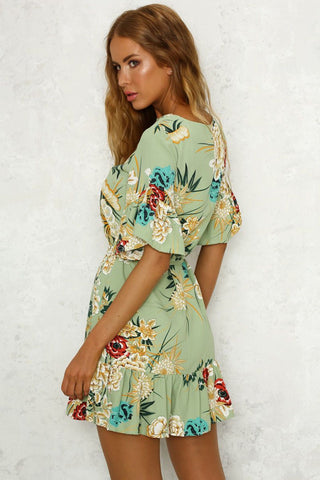 Floral desire LILIPEARL wrap mini dress - Green
