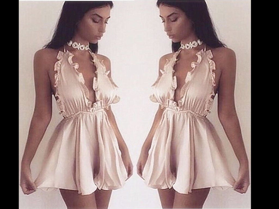 Kara champagne gold LILIPEARL satin mini dress playsuit  - LiLiPearl - LiLiPearlUK - Handmade luxury dragon satin chinese unique womens clothing lace mesh prom dress festival crop top sequin bodychain dolls kill depop shopify silkfred chelsea pearl li bralet lili pearl