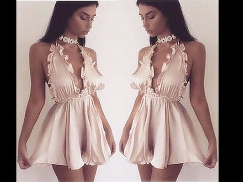 Kara champagne gold LILIPEARL satin mini dress playsuit
