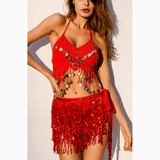 Sequin Red LILIPEARL tassel belt wrap skirt - LiLiPearl - LiLiPearlUK - Handmade luxury dragon satin chinese unique womens clothing lace mesh prom dress festival crop top sequin bodychain bralet lili pearl