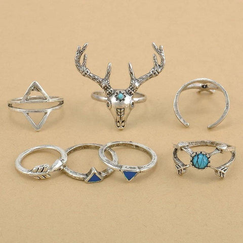Hippy Stag LILIPEARL ring bundle set (7 pieces)