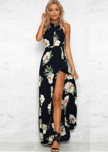 Tamsin Navy LILIPEARL floral Maxi leg split dress - LiLiPearl - LiLiPearlUK - Handmade luxury dragon satin chinese unique womens clothing lace mesh prom dress festival crop top sequin bodychain bralet lili pearl