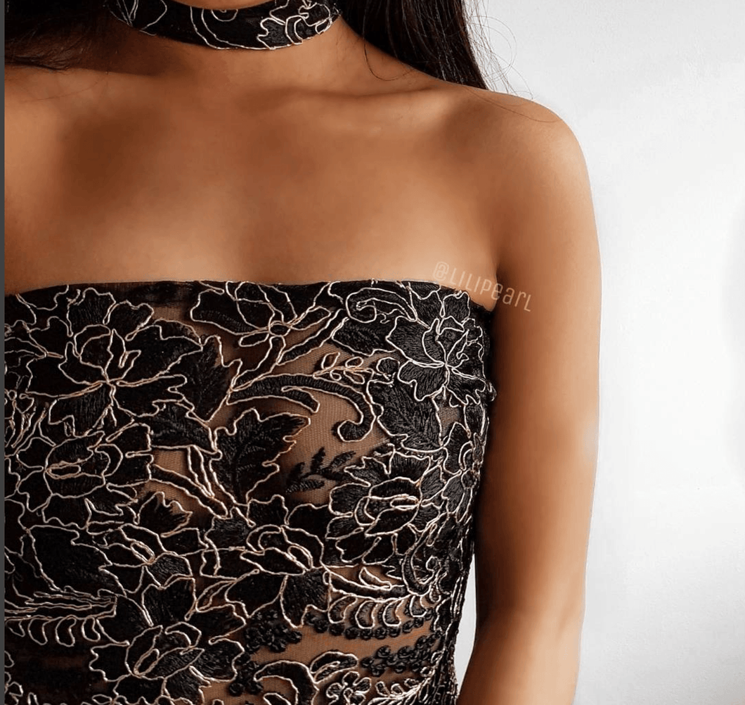 Tayla LILIPEARL black gold lace strapless bandeau crop top + choker  - LiLiPearl - LiLiPearlUK - Handmade luxury dragon satin chinese unique womens clothing lace mesh prom dress festival crop top sequin bodychain dolls kill depop shopify silkfred chelsea pearl li bralet lili pearl