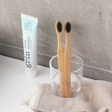 Grin Charcoal-Infused Bamboo Toothbrush - Twin Pack - Grin Natural Products