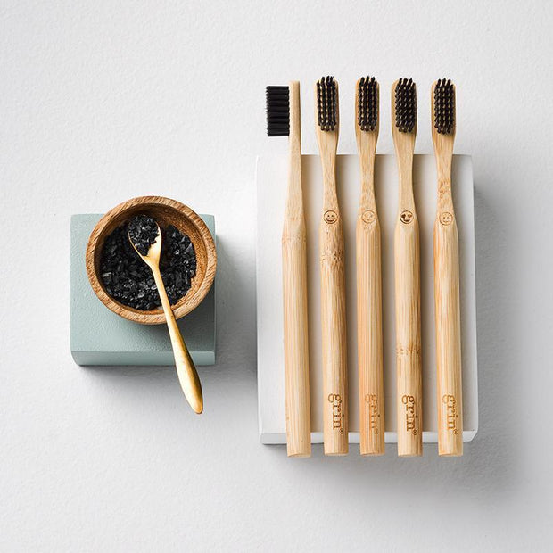 Grin Charcoal-Infused Bamboo Toothbrush Emoji 5 pack (Soft) - Grin Natural Products
