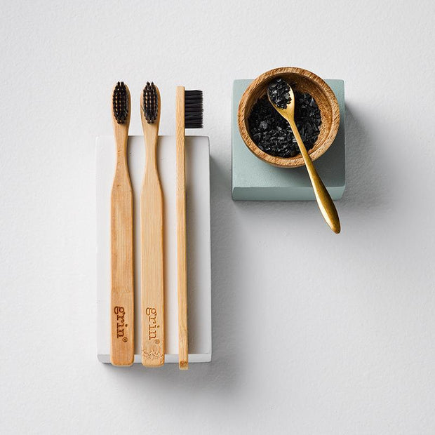 Grin Charcoal-Infused Bamboo Toothbrush Trio - Grin Natural Products