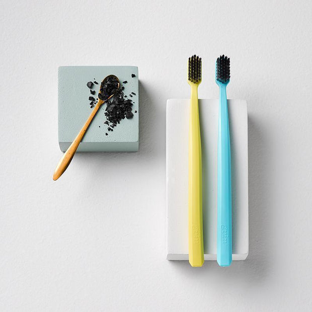 Grin Bio Toothbrush Twin Pack Turquoise & Yellow (Soft) - Grin Natural Products