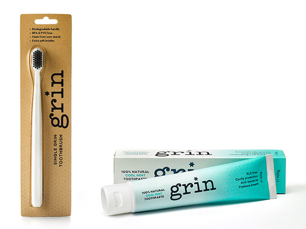 Grin Freshening Toothpaste & Biodegradable Toothbrush Set - Grin Natural Products