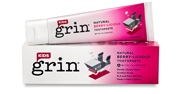 Grin Kids Natural Berry-licious Toothpaste with Fluoride 70g - Grin Natural Products