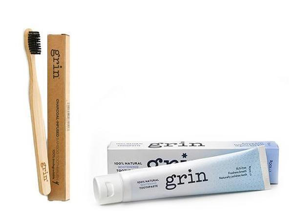 Grin Whitening Toothpaste & Bamboo Toothbrush Set - Grin Natural Products