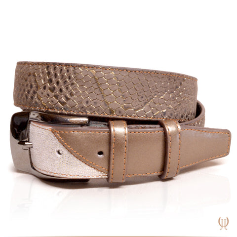 De Niro Belt Regal Brown/Silver