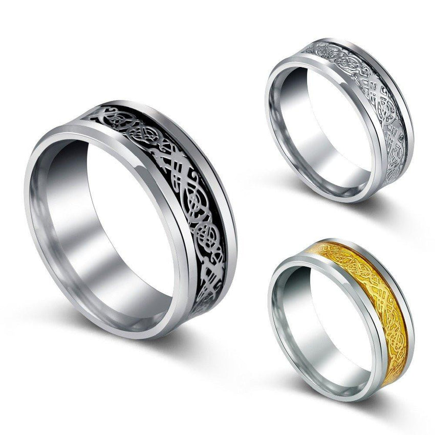 Nordic Dragon Steel Ring - The Dragon Shop - Geek Culture