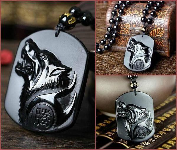 NIGHTWOLF Volcanic Obsidian Necklace - The Dragon Shop - Geek Culture