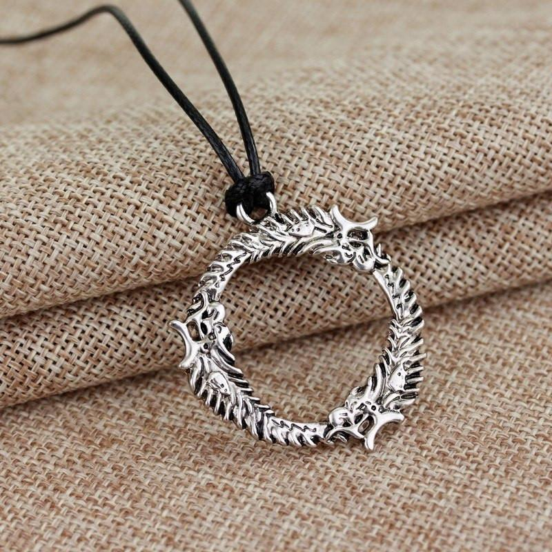 Skyrim Dragon Ring Steel Necklace – The Dragon Shop