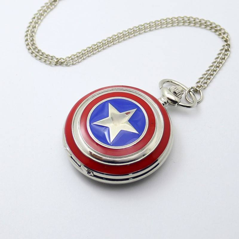 Captain America Stainless Steel Pocket Watch - The Dragon Shop - Geek Culture