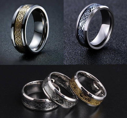 Nordic Dragon - Viking Steel Ring - The Dragon Shop